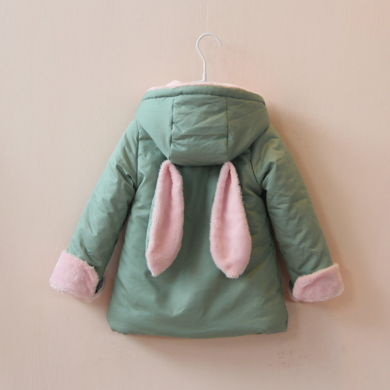 New 2014 autumn winter baby clothing girls fleece velvet casual coat children cute Rabbit ears outerwear