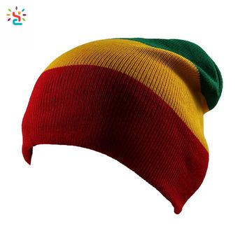 Jamaican Rasta Hat Multi-colour Striped Slouchy Beanie Gorro reggae free  rasta hat crochet pattern 1fc873b20a4