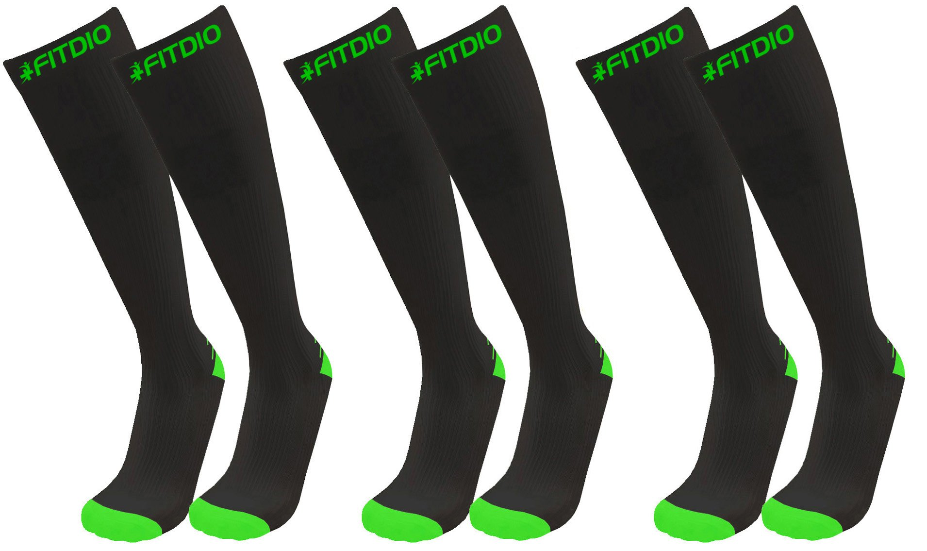 e455103b5bc Get Quotations · Wide Calf Plus Size Knee High 15-20mmHG 3-Pair Sports  Compression Socks Size