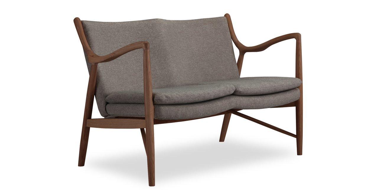 Kardiel Copenhagen 45 Mid-Century Modern Loveseat/2 Seat Sofa, Gosford Twill/Walnut