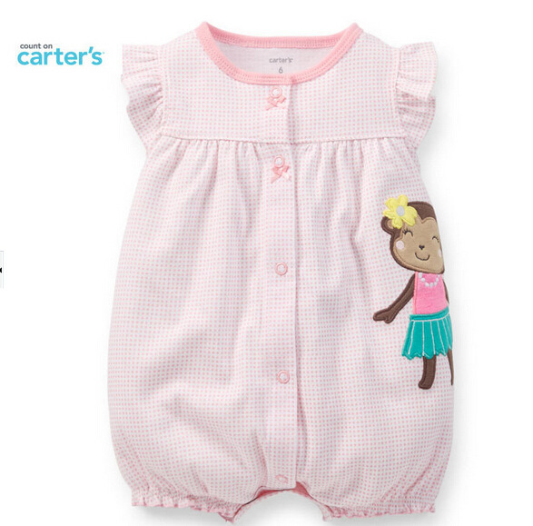 2015 summer style baby girl short sleeve clothes carter's infantil cotton baby Romper cartoon monkey clothes pink baby clothing