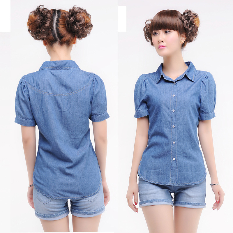 77c9435c Get Quotations · jeans fese feminine summer solid short sleeve denim shirts  for women shirt 2014 casual women's jean