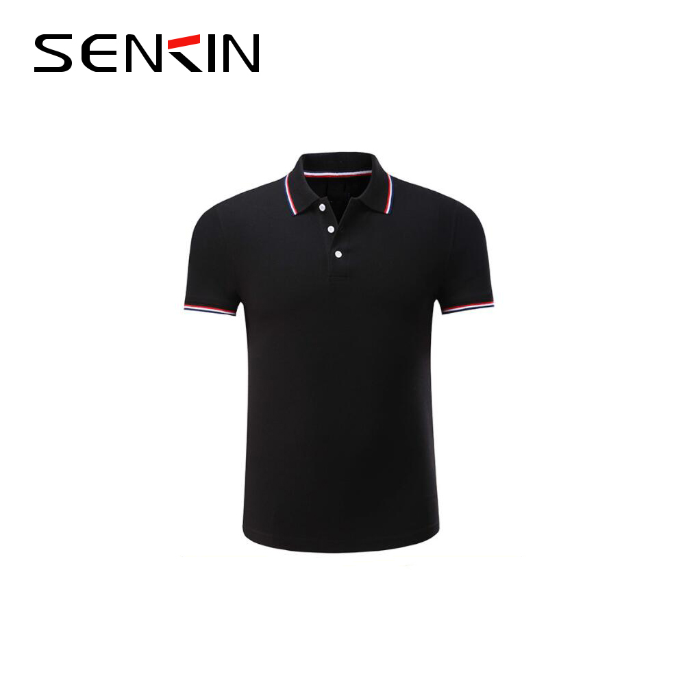 Custom Mens Black Cotton Contrast Collar Golf Polo Shirt With Own