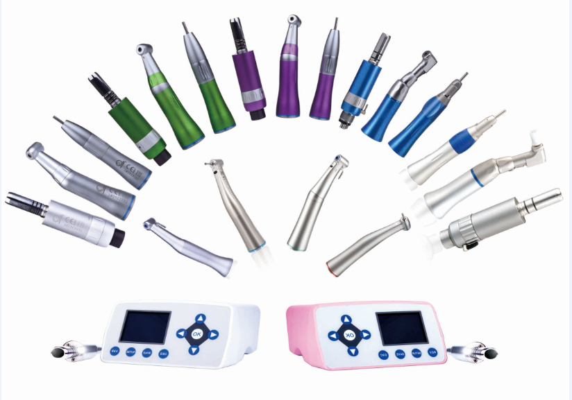 Colorful dental low speed handpiece with contra angle straight handpiece and air motor