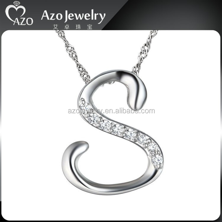 Fashion 925 Sterling Silver Letter S Shape Pendant