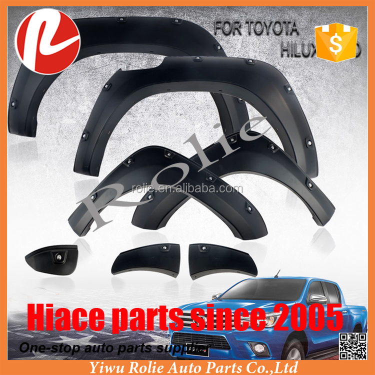 Black Fender Flares Wheel Arch Trim With Nuts For 1Toyota Hilux Revo Sr5 M70 M80 2015-2017