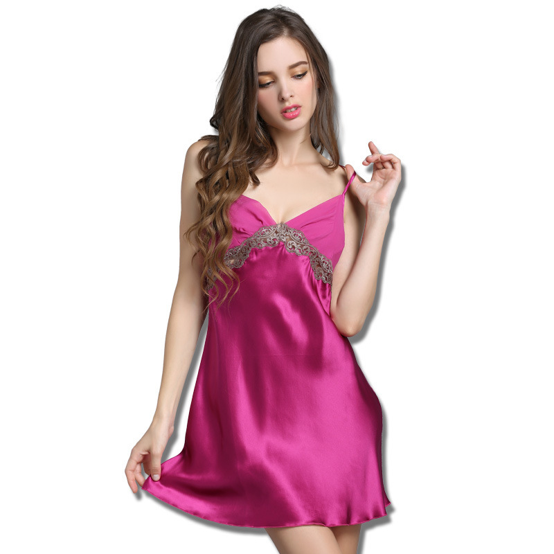 9a206f87e2 Get Quotations · Silk Nightgowns Summer Women Sexy Lace Sleeveless  Sleepskirts Pure Silk Women S Sleep Lounge Silk Satin Pajamas