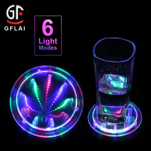 New Product Ideas 2018 Round Shape 6 Modes Multi Color Changing Tunnel LED Light Up Drink Coasters