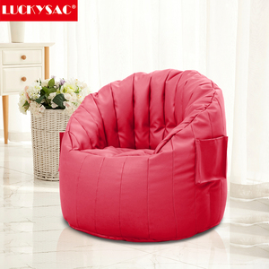 Factory Supply Round Back Sofa Chair Semi PU leather Bean Bag Sofa for Living Room Furniture