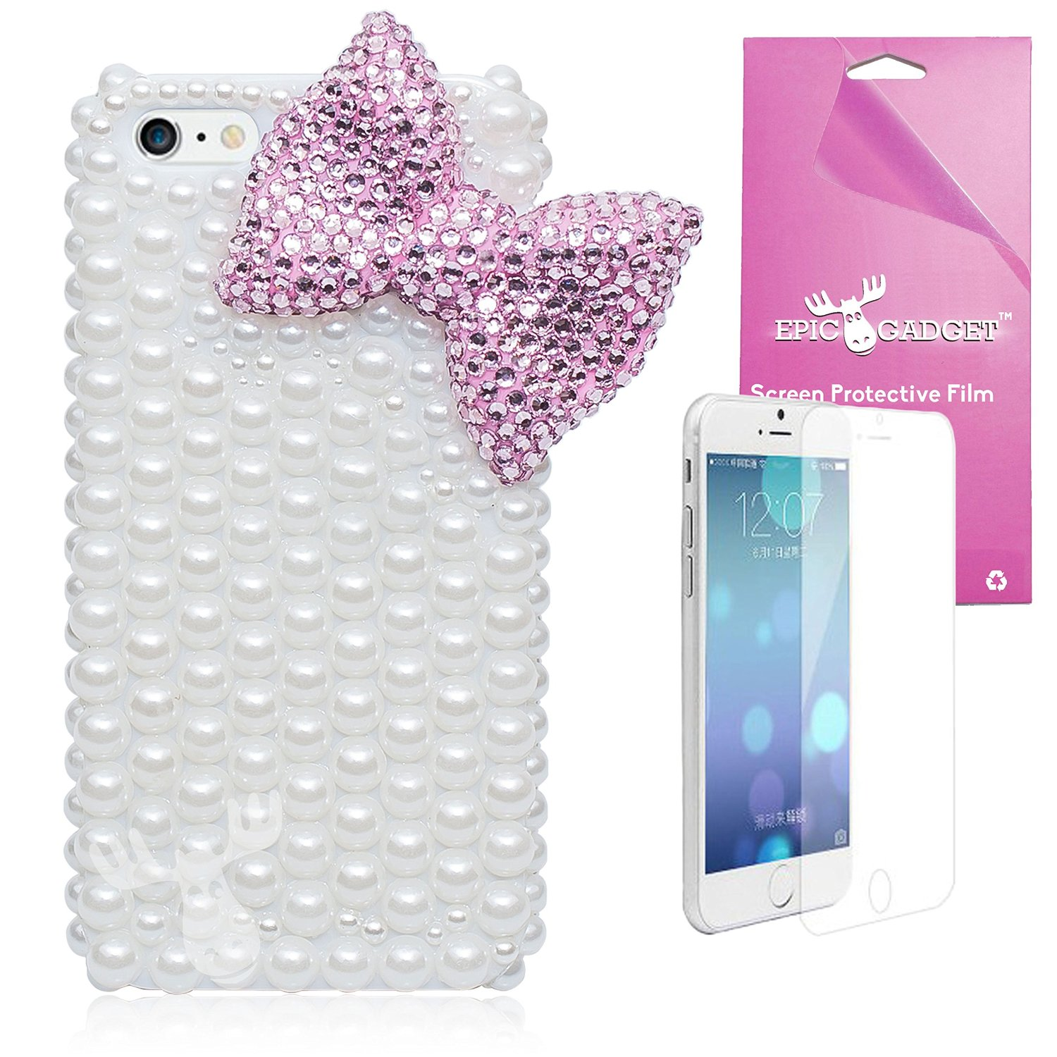 iPhone 6 Plus [5.5] Case, EpicGadget(TM) 3D Bling Luxury Bowknot Pearl Handmad Diamond Cover For Apple iPhone 6 Plus 5.5 inch + Free iPhone 6 Plus Screen Protector (US Seller!!) (Pink Bow Pearl Case)
