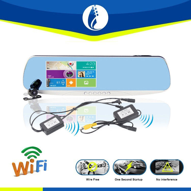 Wire free installation No interference 2.4G wireless Dual Car Carmera GPS navigation rearview mirror