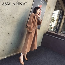 ASM ANNA Mode Streetwear Extra Lange länge Taille Linie Winter Warme Doppel-konfrontiert Woolen <span class=keywords><strong>Mantel</strong></span>