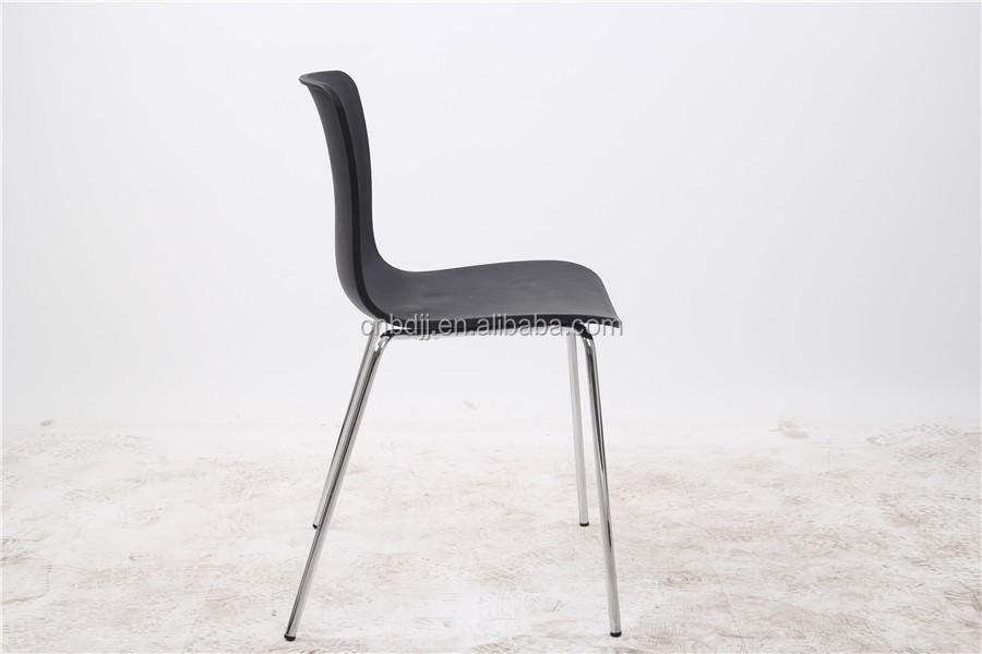 De color barato silla plastico modernas con patas de metal cromado ...