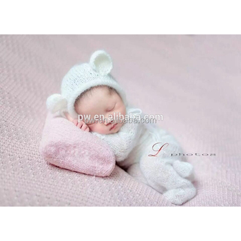 b3c2833295c Cute baby overall Newborn outfit Knitted hooded romper and bonnet sets  Photography prop Crochet mohair romper
