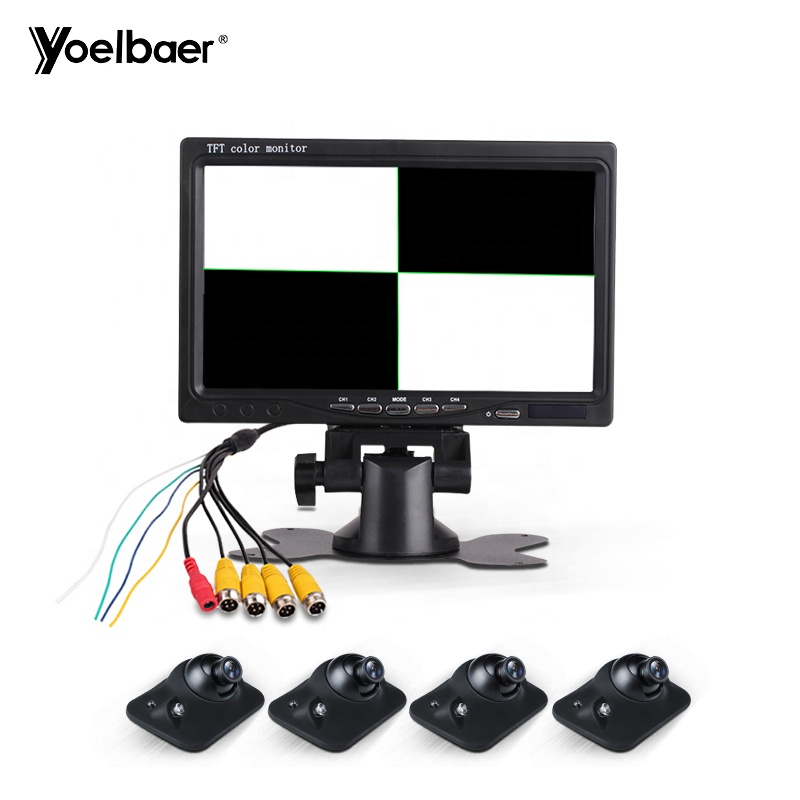 7 inch Quad 4 split LCD Monitor Display 360 Degree 4 Channel Panoramic System Rear Reversing Camera Parking Aid Blind Spot