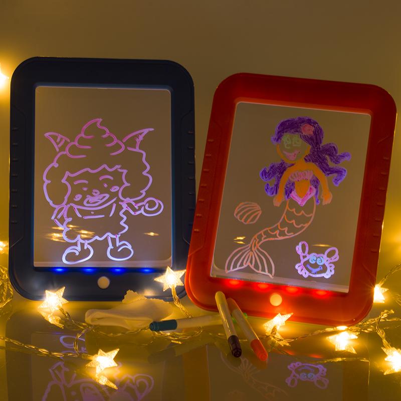 LED Light Up 3D Magic Erasable Drawing Pad Kids Writing Board Creative Magic Board children Magic Drawing Pad