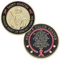 Hero's Valor St. Agatha Matron Saint of Breast Cancer Challenge Coin