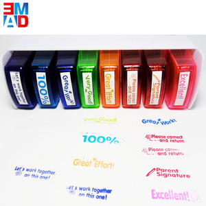 8 in 1 plastic colorful funny rubber stamps plastic for teachers school