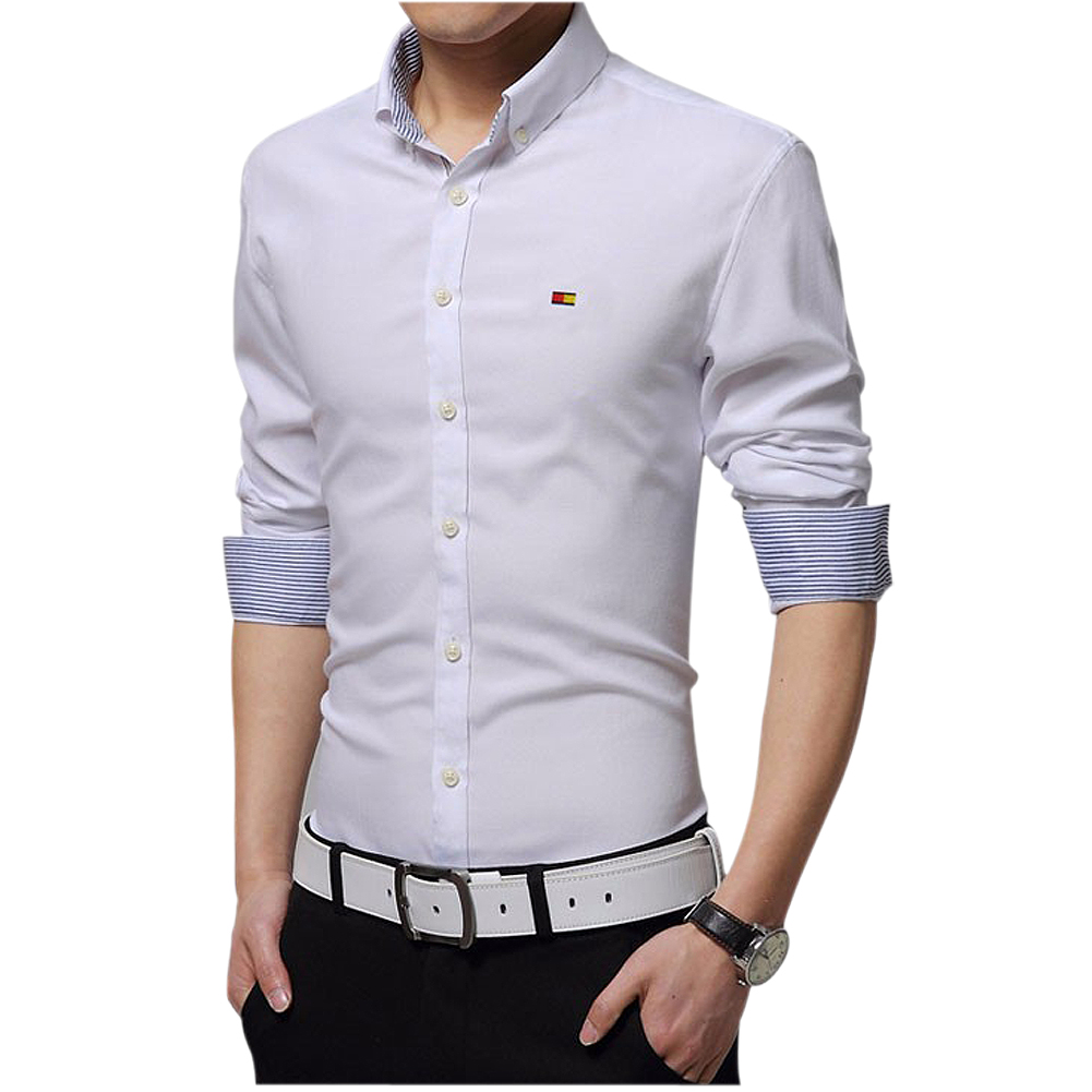 6243d631a1d Wholesale- Mens Dress Shirts Slim fit Fashion Long sleeve Shirt High Quality  Casual Size M-4XL White Yellow Green Gray Light Blue Red Pink