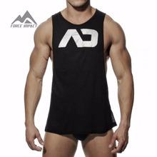 2015 New Men's Vivid Gym Tank Tops Low Cut Armholes Vest Sexy Men's Tank Man Muscle Man's Fitness Sport Suit AD51 on Sale