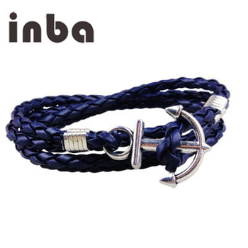 Fashion New Style Men Alloy Boat Rope Leather Anchor Bracelet With Logo