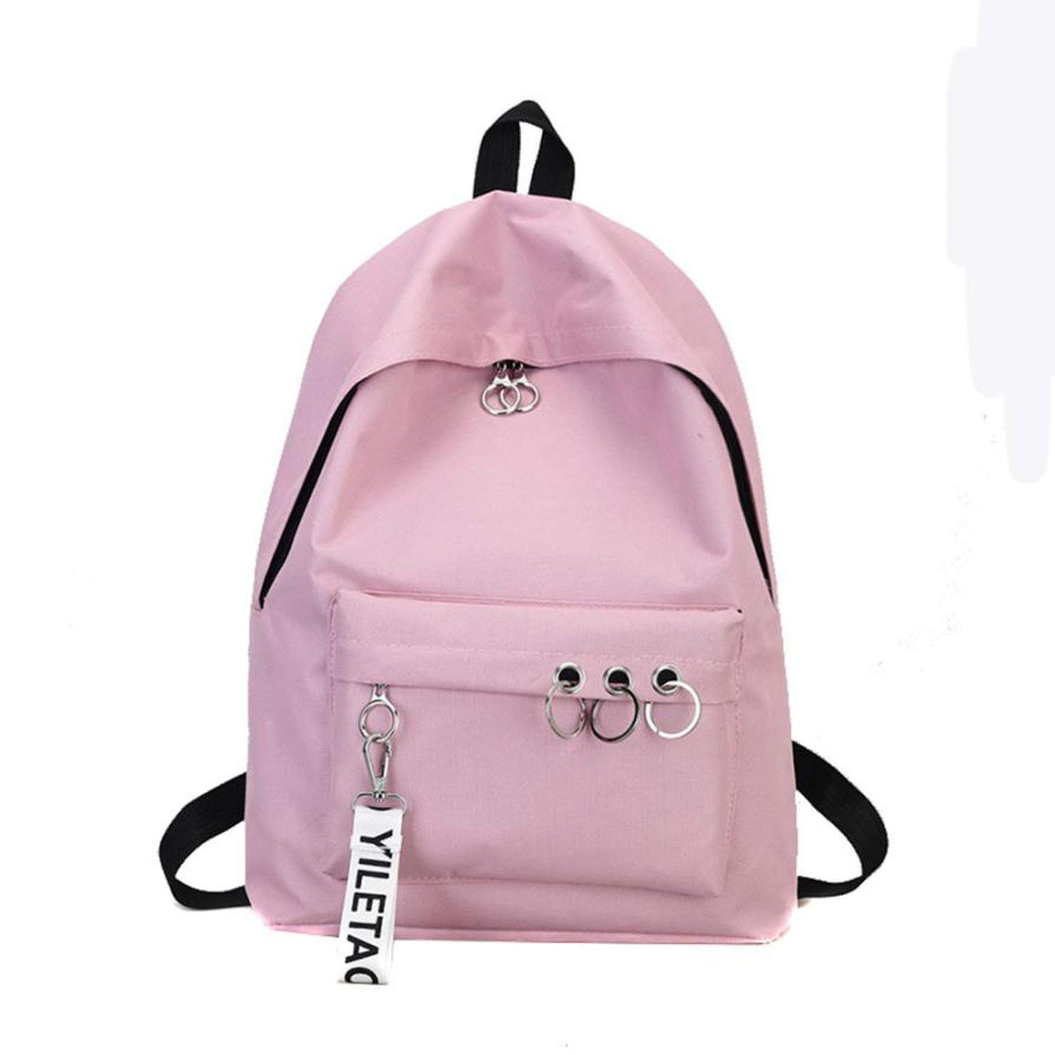 Get Quotations · Travel Backpack Ring Bookbags Womens Backpack Grey Black  White Solid Canvas Backpack College Pink 4fa45162cb1c5