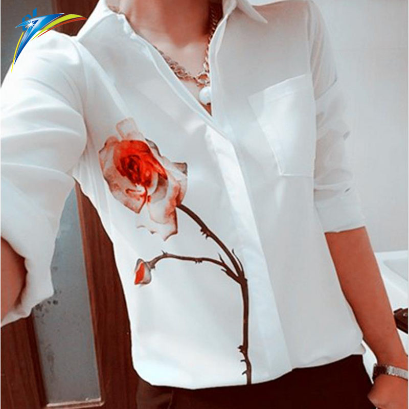 China fabriek dameskleding gedrukt stretch chiffon lange mouw blouse Lente Rose Bloem dame Elegante shirts blouse
