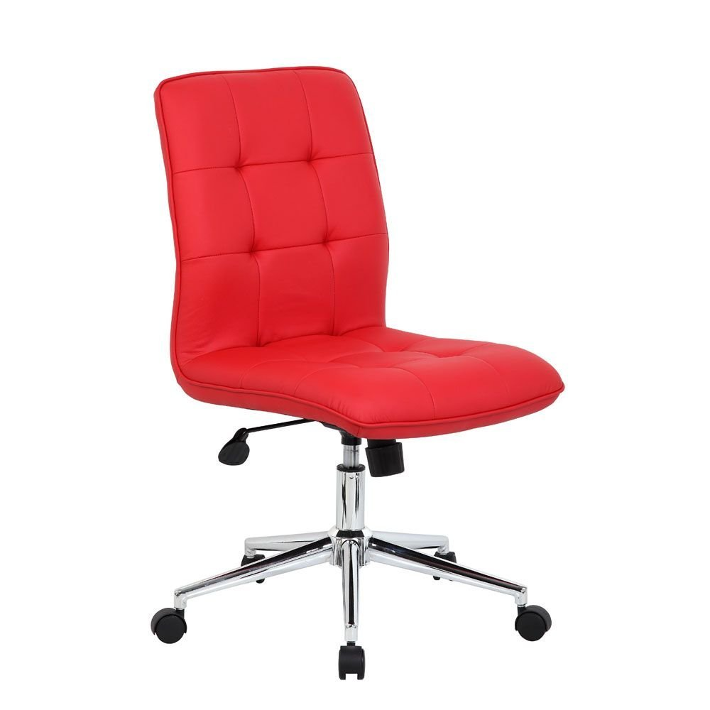 """Brianna Modern Armless Task Chair Dimensions: 27""""W x 27""""D x 35.5-38.5""""H Seat Dimensions: 19.5""""Wx18""""Dx18-21""""H Seat Thickness: 2.5"""" Red Vinyl/Chrome Frame"""