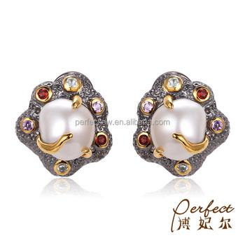 bb25b78f033b5 Latest Design Women 925 Sterling Silver Stud Artificial Pearl Earrings -  Buy Latest Design Of Pearl Stud Earrings,Artificial Pearl Earrings,925  Indian ...