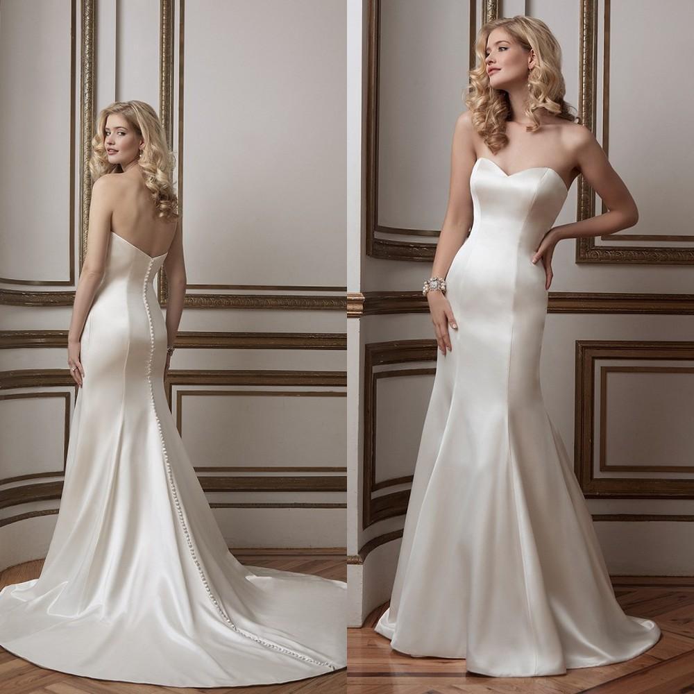 2015 Spring Wedding Dresses Mermaid Sexy Bone Sweetheart