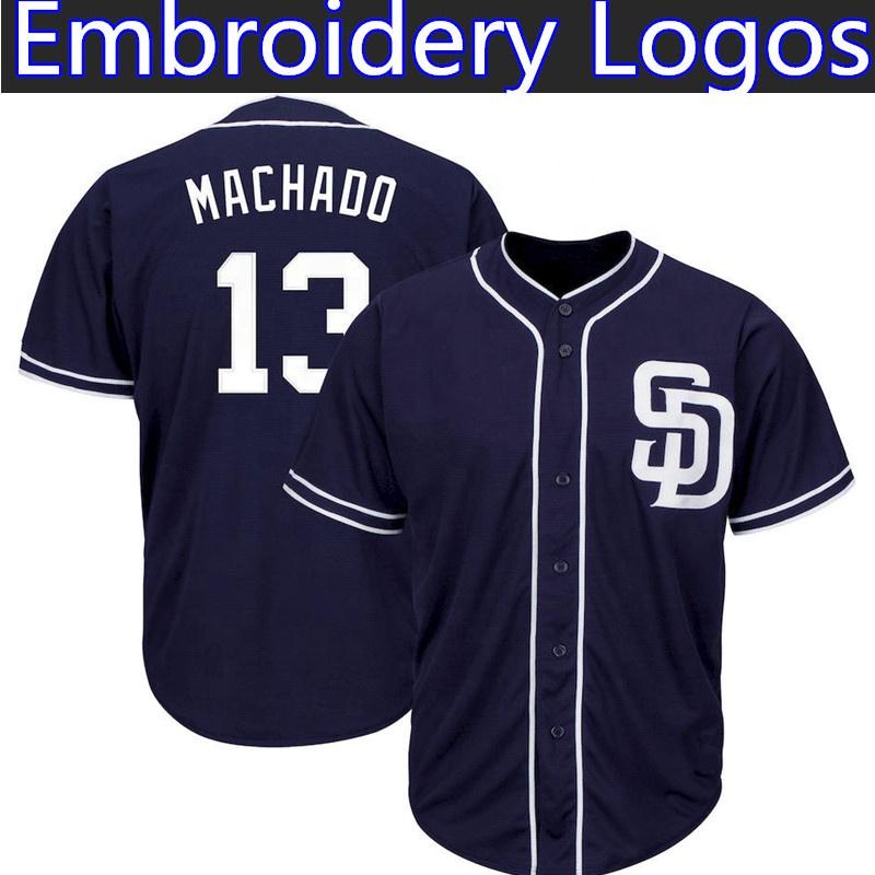 San Diego Padres Manny Machado Jerseys 13 Manny Machado Majestic Official Cool Base Player Baseball Jersey Embroidery Logos фото