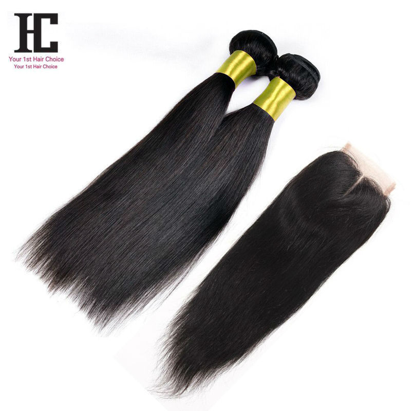 7A Lace Closure With Bundles Straight Brazilian Hair Weave Bundles With Closure 2Pcs Virgin Brazilian Straight Hair With Closure