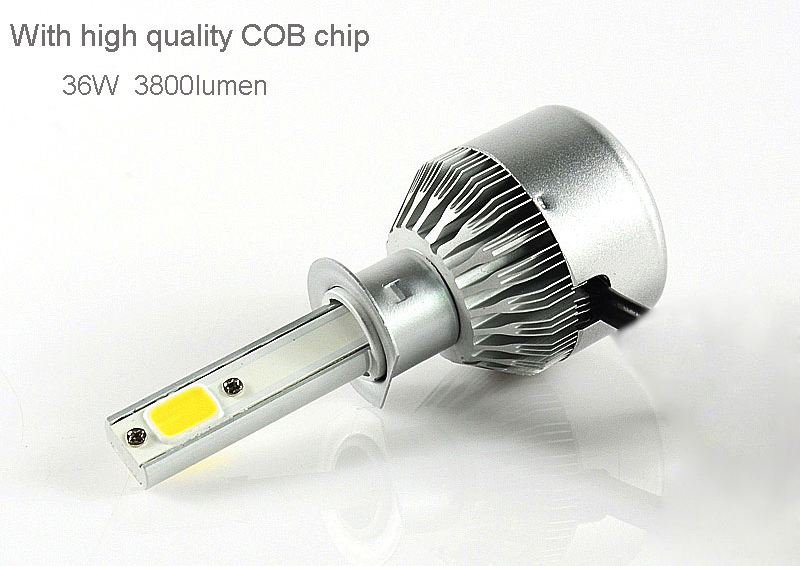 Factory direct sales C6 36W 3800lm led headlight for car h4 h7 9005 9006 with cooling fan auto parts