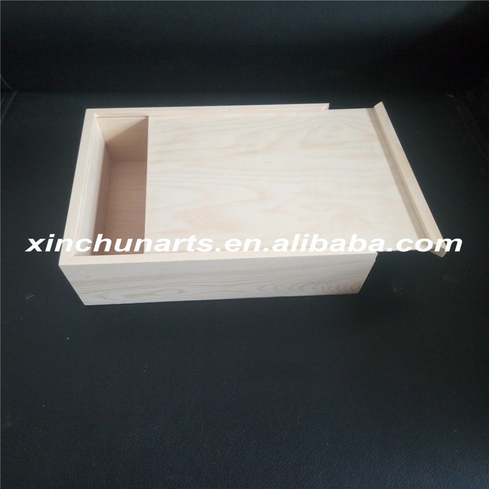 Unfinished small wooden slide top boxes wholesale