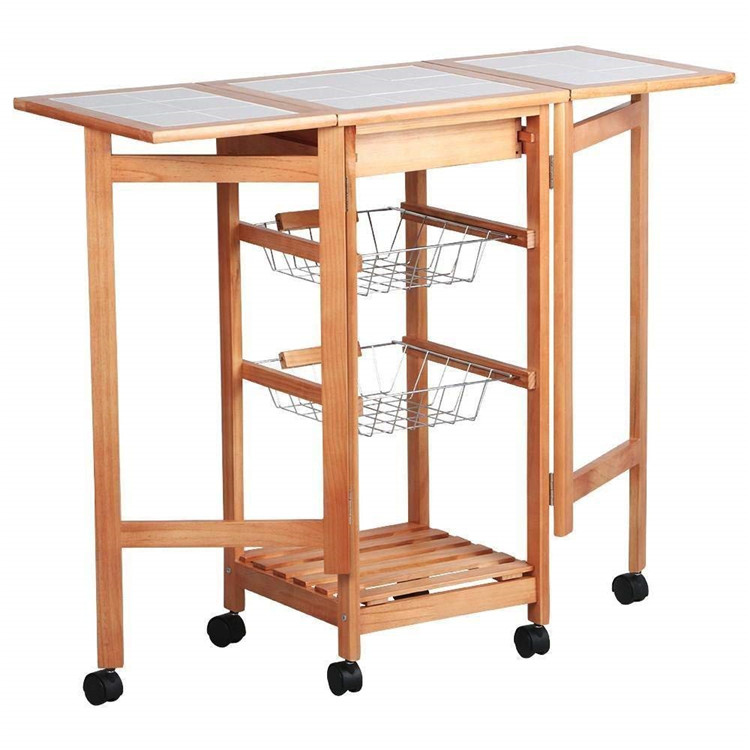 3 Tier extendable kitchen trolley baskets design with drawer