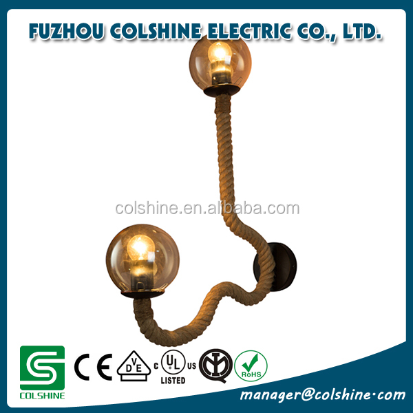 Colshine e27 hemp rope double head vintage hanging pendant ceiling light lamp