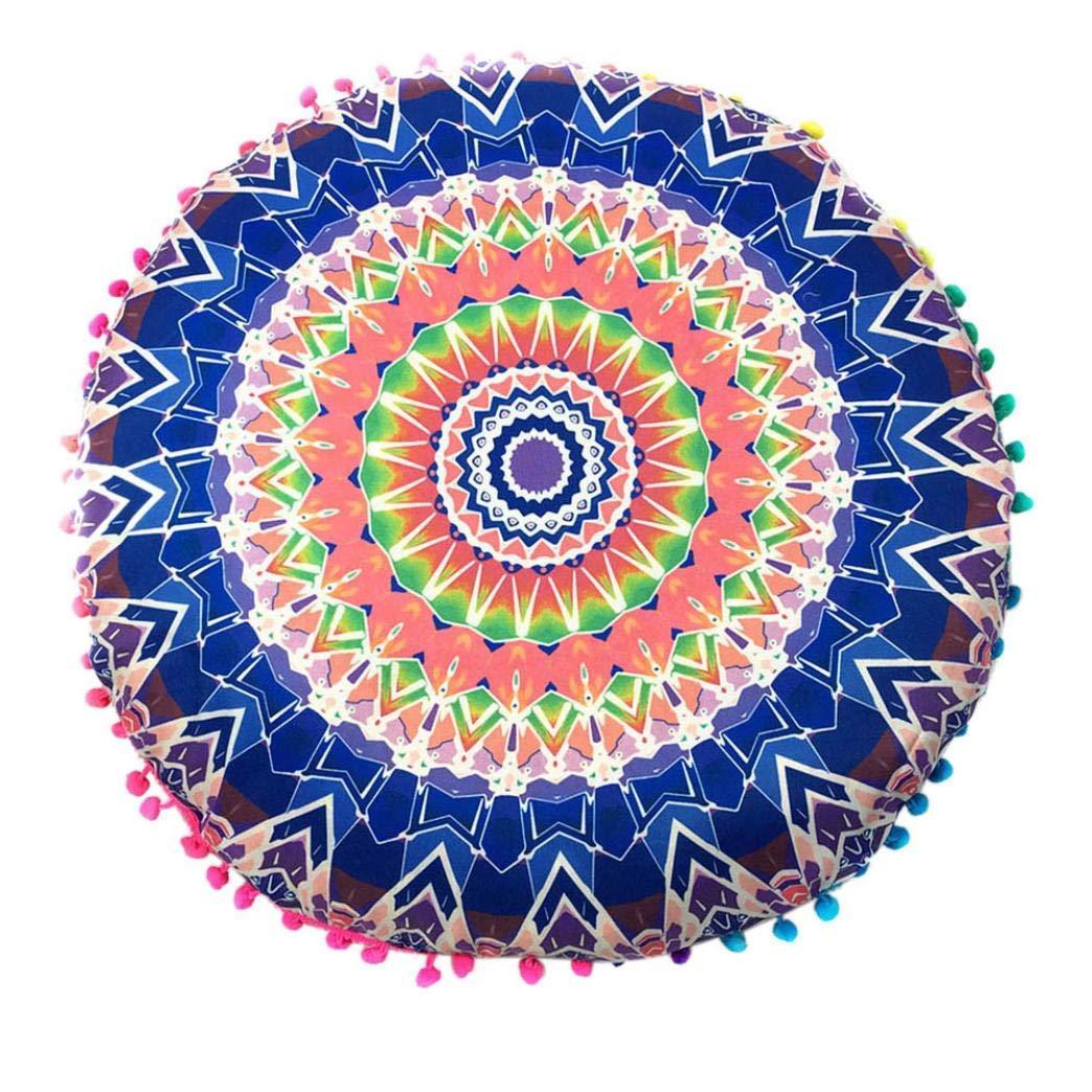 yijiamaoyiyouxia Indian Mandala Floor Pillows Round Bohemian Cushion Cushions Pillows Cover Case (Blue)