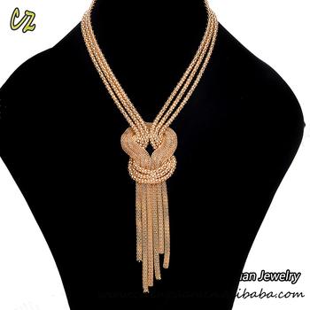 06d2c24dedd China Stock Jewelry Long Gold Chain Tassel Statement Choker Necklace ...