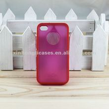 Latest Transparent PC+TPU cell phone Cases / clear back cover for iPhone 4/4S with Circle Hole,Showing the apple brand