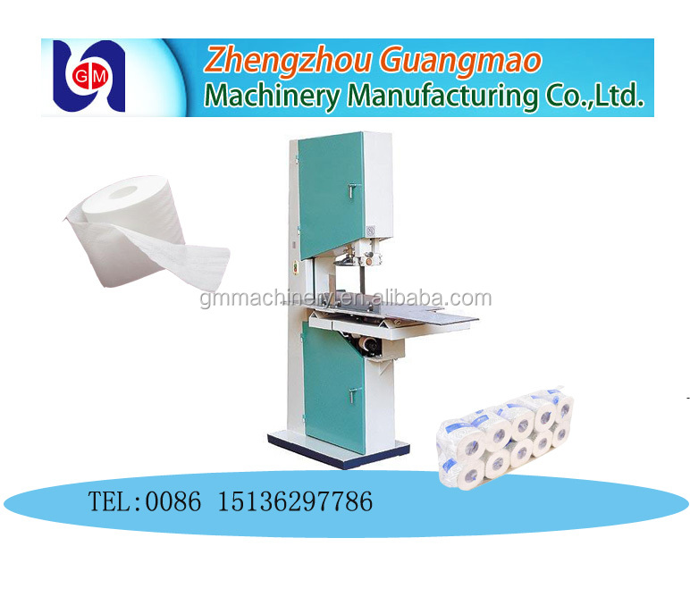 Zhengzhou guangmao semi automatic small tissue rolling paper cutting machine with band saw blade