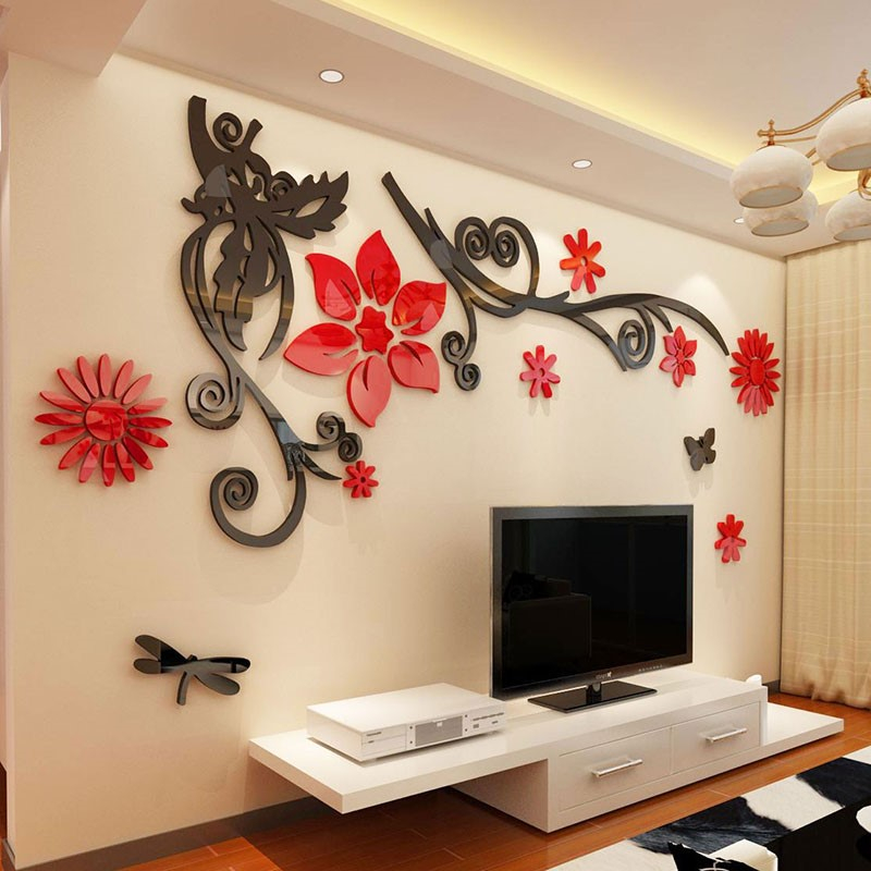 Us 13 68 40 Off 3d Stereo Flower Vine Acrylic Crystal Wall Stickers Home Decor Diy Mirror Wall Sticker Tree Living Room Sofa Tv Background Decal In