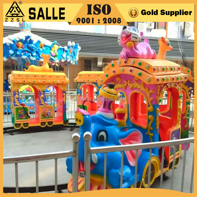 Top Fun Attraction LED Decoration Funfair Children Playground Rides Small Kids Games Electric Elephant Train
