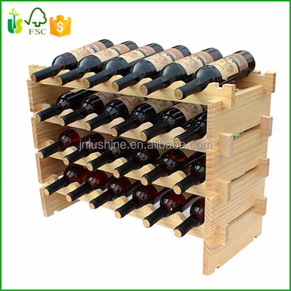 4Tiers Wood Wine Rack Bottle Holder Storage ShelvIing Shelve Unit to 24 Bottles