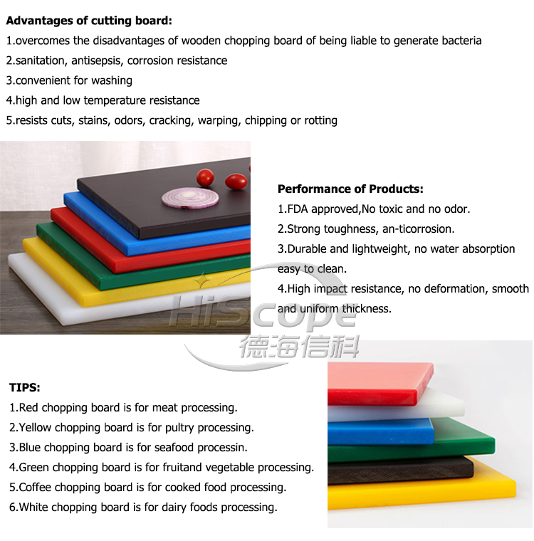 335mm useful rectangle plastic cutting board set for chopping in kitchen