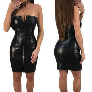 fashion front zipper up off shoulder sexy Japanese teacher girl bodycon club party slim fit midi pencil pu leather dresses