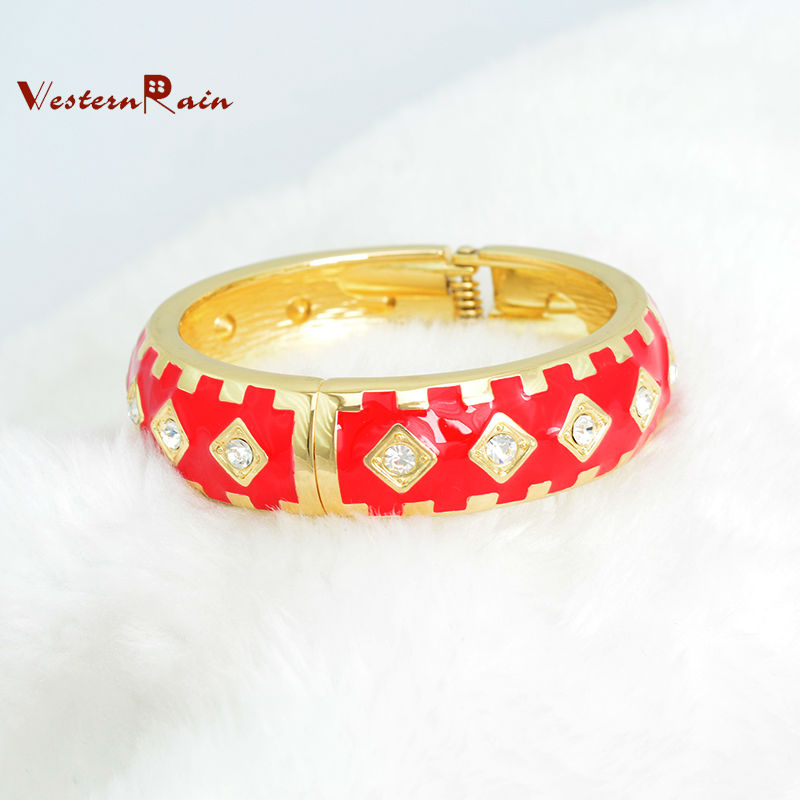 WesternRain Cheap Hot Gorgeous Elegant Women Rhinestone Vintage Red&Green 2015 New Fashion Copper Alloy Bangle Free Shipping!!!