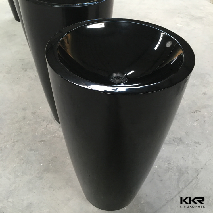 Western black stone colored unique pedestal sinks