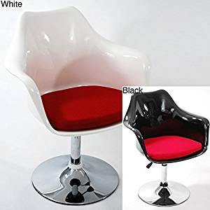Fine Mod Imports Lily Glossy Adjustable Arm Chairs (Set of 2) Black Shell/Red Cushion Black Finish