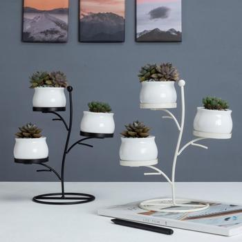 table decorative tree shaped ceramic white mini succulent planter pot with stand