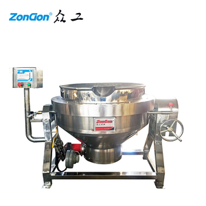2019 on Sale 100L Industrial Electric ZONGON Oil Jacketed Cooking Pot Steamer Kettle Gas Cooking Pot with Mixer